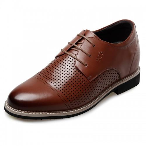 Morden Elevator Formal Sandals 2.6inch / 6.5cm Brown Lace up Height oxfords