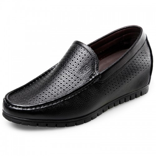Soft Leather Elevator Sandals for Men Taller 2.4inch / 6cm Black Perforated Beach Loafers