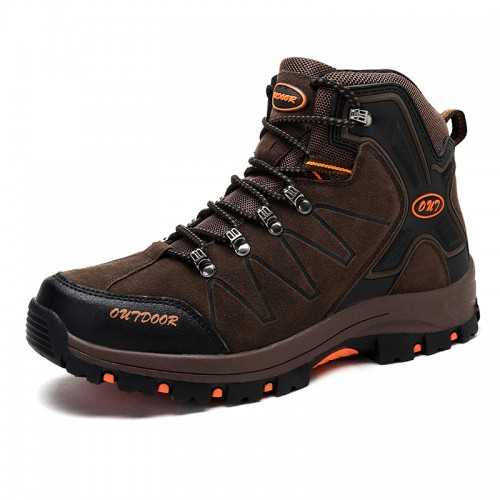 High Top Hidden Lift Hiking Shoes for men Increase Height 3.2Inch / 8cm Brown Trekking Shoes