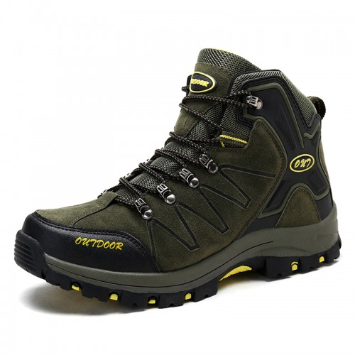 High Top Heighten Hiking Shoes for Men  Taller 3.2Inch / 8cm Green Height Increasing Trekking Shoes