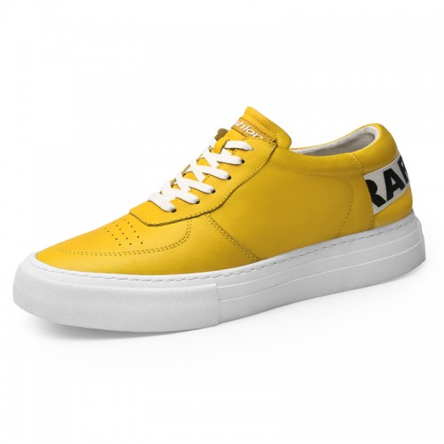 Versatile Taller Trainers for Men Increase Height 2.4inch / 6cm Yellow Cowhide Hidden Heel Platform Skate Shoes