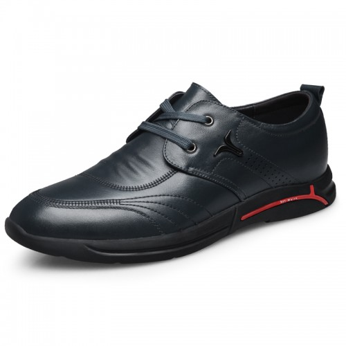 Blue Soft Leather Hidden Height Shoes for Men Tall 2.4inch / 6cm British Trendy Elevator Casual Shoes