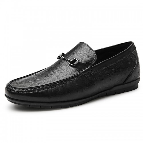 Clearance Comfort Elevator Driving Loafers for Men Taller 2.2inch / 5.5cm Black Ostrich Hidden Lift Boat Shoes