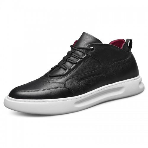 Black Elevator Platform Skate Shoes for Men Increase Height 2.6inch / 6.5cm Premium Calfskin Casual Shoes