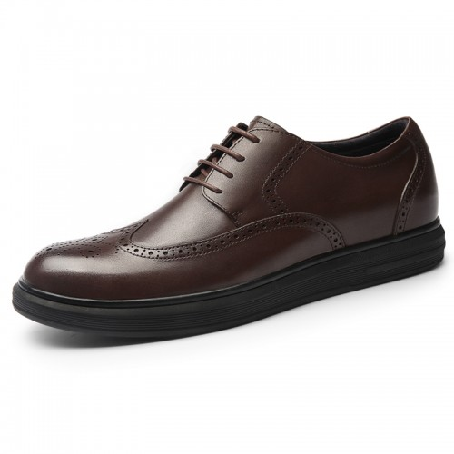 Brown Wing Tip Elevator Dress Shoes Add Height 2.4inch / 6cm Comfortable Business Brogue Derbies