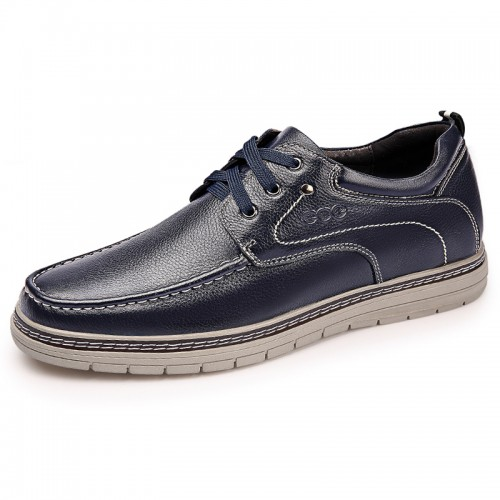 Blue Korean Elevator Men Casual Shoes Add Height 2.4inch / 6cm Genuine Leather Business Shoes