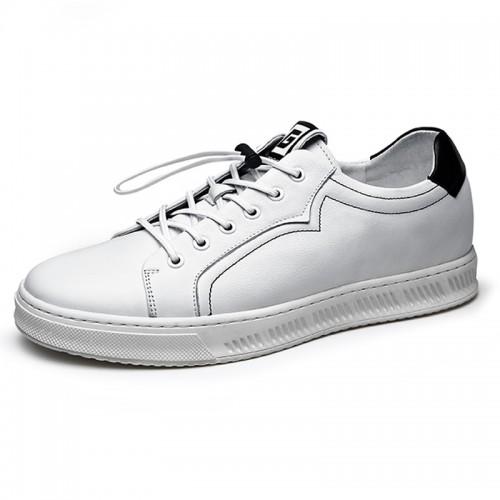 2019 Fashion Hidden Lift Men Board Shoes Height 2.4inch / 6cm Black Soft Calfskin Elevator Casual Shoes