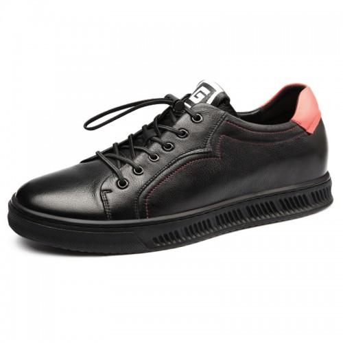 2019 Fashion Hidden Lift Board Shoes for Men Taller 2.4inch / 6cm Black Soft Calfskin Elevator Casual Shoes