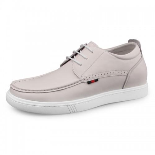 Beige Premium Hidden Heel Skate Shoes for Men Heighten 2.4inch / 6cm Calf Leather Walking Shoes