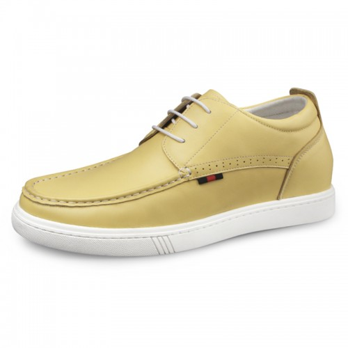 Yellow Premium Hidden Taller Skate Shoes for Men Increase 2.4inch / 6cm Calf Leather Walking Shoes