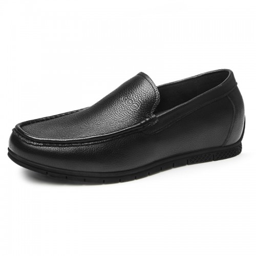 Comfortable Hidden Lift Loafers for Men Gain Taller 2.2inch / 5.5cm Black Soft Cowhide Slip On Driving Shoes