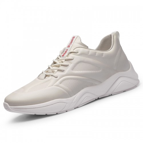 White Genuine Leather Taller Sneakers for Men Height 2.8inch / 7cm Super Lightweight Running Shoes