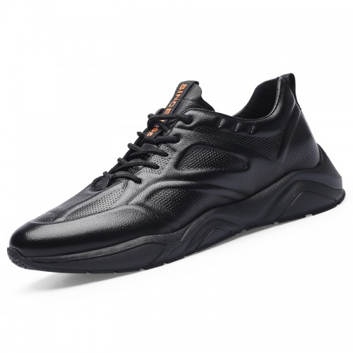 Black Genuine Leather Taller Sneakers for Men Incease 2.8inch / 7cm Super Lightweight Running Shoes