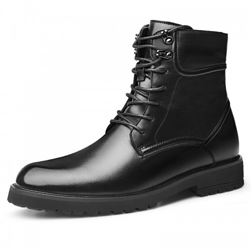 Elevator Military Boots for Men Increase Taller 2.6inch / 6.5cm Cowhide Chukka Boots Woolen Snow Boot
