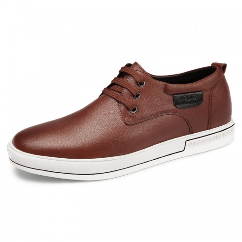 2019 Brown Elevator Skateboarding Shoes for Men  Height 2.4inch / 6cm Fashion British Casual Walking Shoes