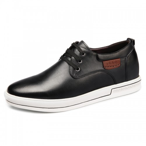 2019 Black Elevator Skateboarding Shoes for men Taller 2.4inch / 6cm Trendy British Casual Walking Shoes