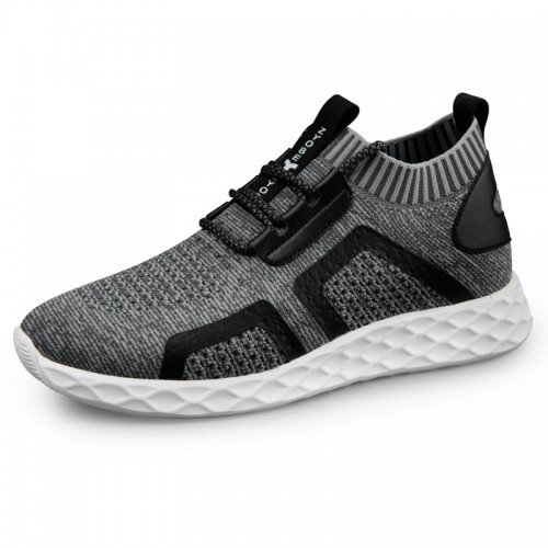 2019 Elevator Knit Sock Sneaker for Men Look Taller 2.4inch / 6cm Light Gray Hidden Lift Running Shoes