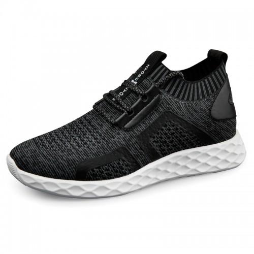 2019 Elevator Knit Sock Men Sneaker Increasing 2.4inch / 6cm Light Gray Hidden Lift Running Shoes