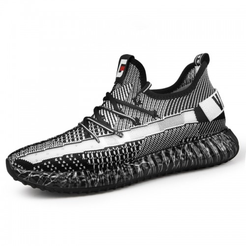 2019 Black-White Men Elevator Knitted Trainers Taller 2.4inch / 6cm Lightweight Walking Shoes