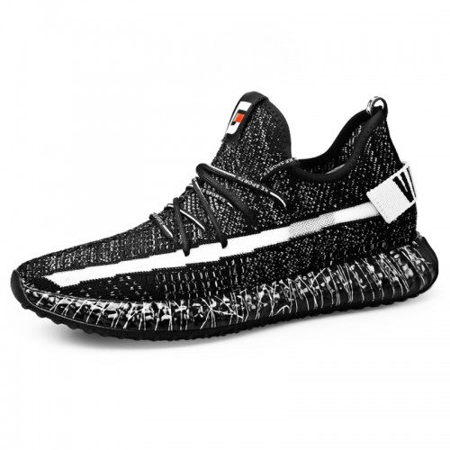 2019 Black-Grey Elevator Knitted Trainers for Men Increase 2.4inch / 6cm Lightweight Walking Shoes