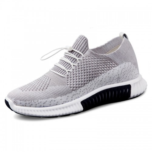 Hollow Out Flyknit Taller Men Shoes Increase 2.6inch / 6.5cm Grey Breathable Comfortable Sneakers