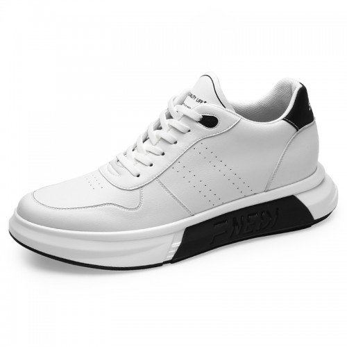 Elevator Platform Skateboarding Shoes for Men Taller 2.8inch / 7cm Black-White Leather Casual Sports Shoes