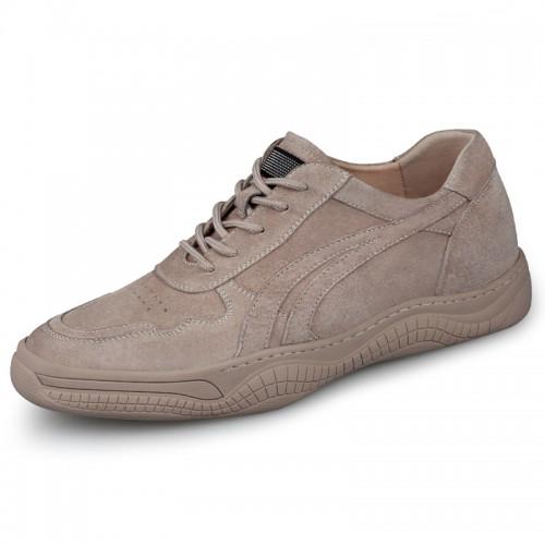 Tan Hidden Heel Skateboarding Shoes Outdoor Casual Elevator Shoes Increase Taller 2.4inch / 6cm