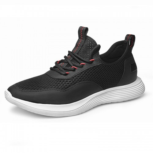 Black Hollow Out Comfortable Elevator Sneakers for Men Increase Taller 2.4inch / 6cm Mesh Running Shoes