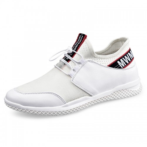 White Height Increasing Men Running Shoes Add Taller 2.4inch / 6cm Mesh Casual Elevator Loafers