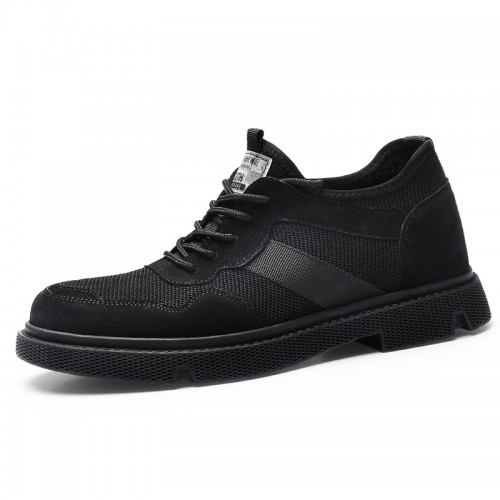 Black British Elevator Work Shoes for Men Add Taller 2.6inch / 6.5cm Genuine Leather Casual Outdoor Shoes