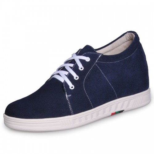 Blue men height increasing Wool lining shoes can be taller 7cm / 2.75inches