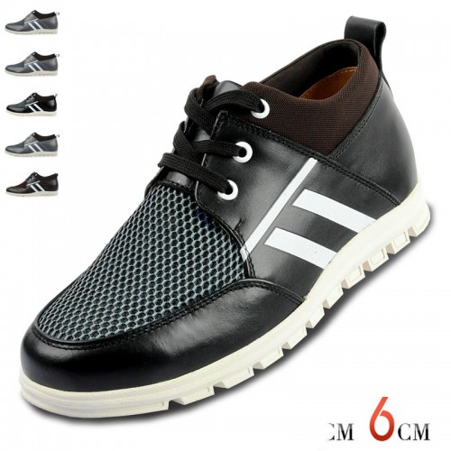 breathable summer height increasing shoes for men  get taller 6cm / 2.36inches elevator casual shoes