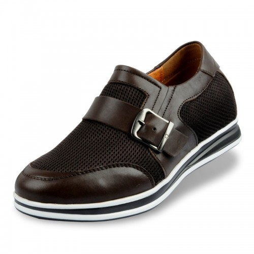 summer breathability height increasing men shoes taller 6cm / 2.36inches leather elevator casual shoes