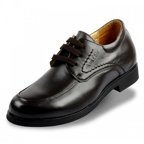 Increasing height shoes for  wedding groom invisibly taller 7cm / 2.75inches cow leather elevator dress shoes