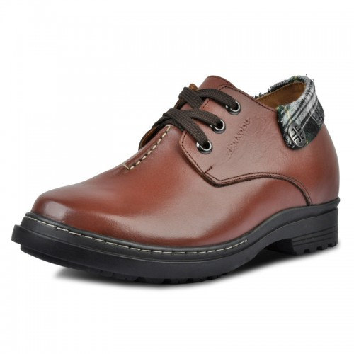Brown increased height men genuine leather shoes invisibly grow taller 9cm / 3.54inches