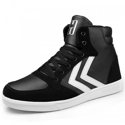 Black fashion lace-up casual elevator sneakers increase height 7cm / 2.75inches dunk high outdoor shoes