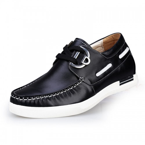 Fashion black elevator driving shoes add height 6cm / 2.36 inches Casual shoe