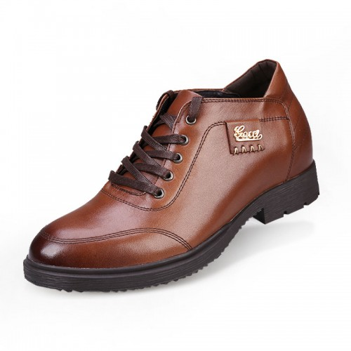 Brown trendy business casual increasing shoes height 7cm / 2.75inches genuine leather elevator shoe
