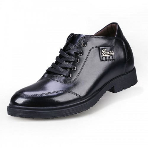 Black trendy business casual height shoes gain taller 7cm / 2.75inches genuine leather shoe
