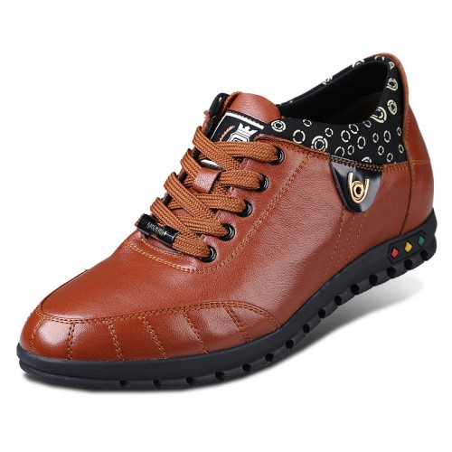 Brown calf leather height increase casual shoes grow taller 6cm / 2.36 inches
