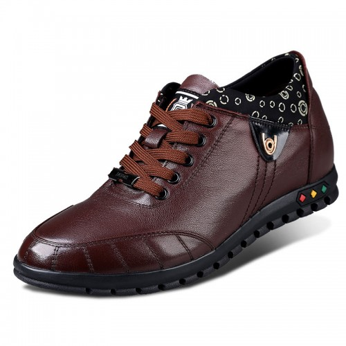 Coffee calf leather elevating casual shoes gain taller 6cm / 2.36 inches