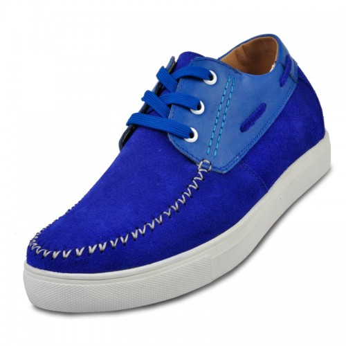Blue elevator casual shoes for men to be height 6cm / 2.36inches