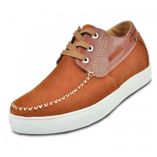 Brown Suede leather casual shoes for men to increase height 6cm / 2.36inches