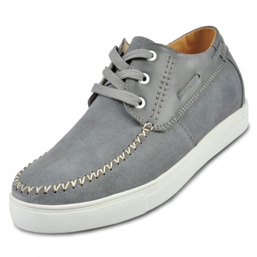 Grey Suede leather casual shoes for men to make you look taller 6cm / 2.36inches
