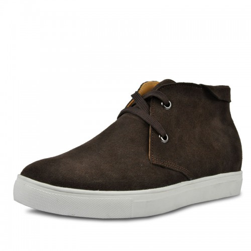men shoes add tall 6cm / 2.36inches suede leather lace-ups shoe