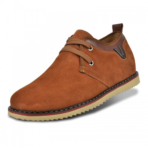 Brown suede leather elevator casual shoes get taller 6.5cm / 2.56inches