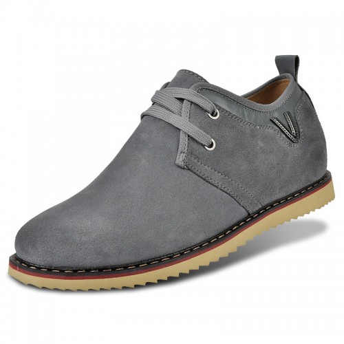 Grey suede leather taller casual shoes height grow 6.5cm / 2.56inches