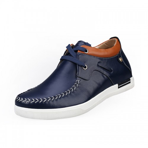 Dark blue casual leather height increasing elevator shoes get taller 6cm / 2.36inches
