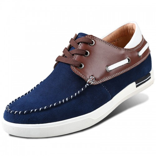 Blue fashion business casual height increasing shoes add taller 6.5cm / 2.56inches