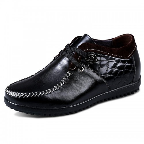 Black cowhide grain leather elevator shoes gain height 6.5cm / 2.56inches
